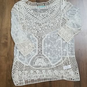 Maurices sheer lace and crochet top